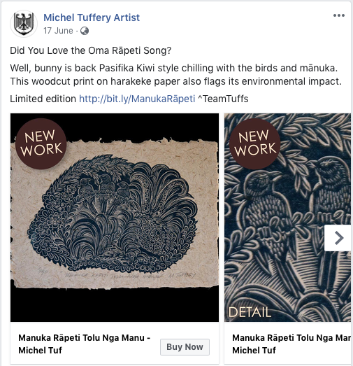 Michel Tuffery limited edition woodcut print Facebook post