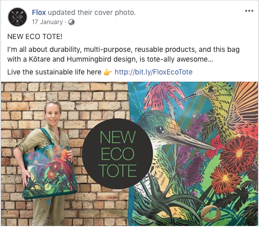 Flox eco tote Facebook post
