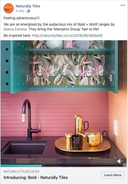 Naturally Tiles bold and motif design Facebook post