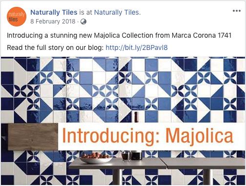 Naturally Tiles Majolica Collection Facebook post