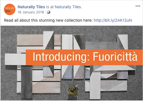 Naturally Tiles new collection Facebook post