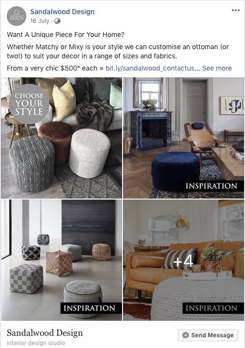 Sandalwood Design mix and match inspo Facebook post