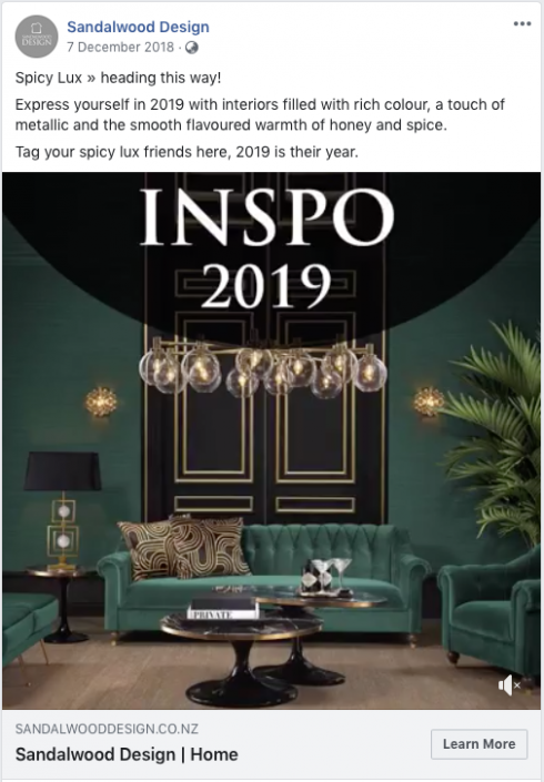 Sandalwood Design inspo 2019 Facebook post