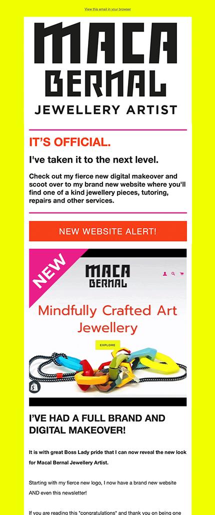 Maca Bernal Jewellery Artist Mailchimp